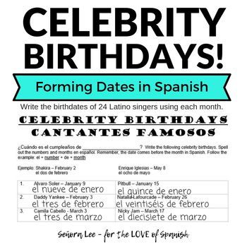 Spanish Calendar Forming Dates With Cantantes Famosos Spanish