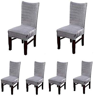 Amazon Com Smiry Velvet Stretch Dining Room Chair Covers Soft Removable Dining Chair Sl Slipcovers For Chairs Dining Room Chair Covers Dining Chair Slipcovers