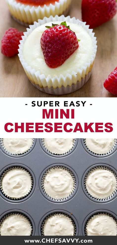 Mini Cheesecake Cupcakes: your favourite layered dessert in miniature form! A crunchy graham cracker crust, smothered in tangy sweet cream cheese, topped with your choice of strawberry or salted caramel sauce, this bite-sized make ahead delight is sure to be a hit at your next potluck or party! | chefsavvy.com #cheesecake #minicheesecake #cheesecakecupcake #dessert #partyfood