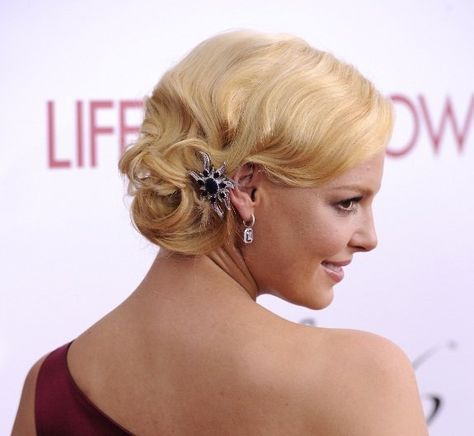 peinados para fiesta de noche cabello corto | Incluso se puede lucir un recogido como hace Katherine Heigl , quien ...