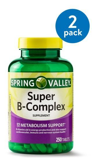 2 Pack Spring Valley Super B Complex Tablets 250 Ct Walmart Com Spring Valley Products In 2020 Dietary Supplements Metabolism Support Supplements