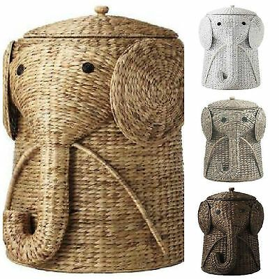 Details About Elephant Hamper Wicker Laundry Basket Clothes Bin