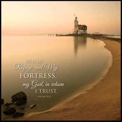 Netherlands Lighthouse - Psalm 91.2 - Mounted Canvas Print