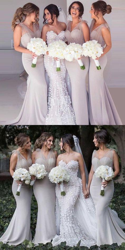 Mermaid V-Neck Sweep Train Lilac Bridesmaid Dress with Bowknot, modest lilac long bridesmaid dresses with bowknot, simple v neck mermaid wedding party dresses