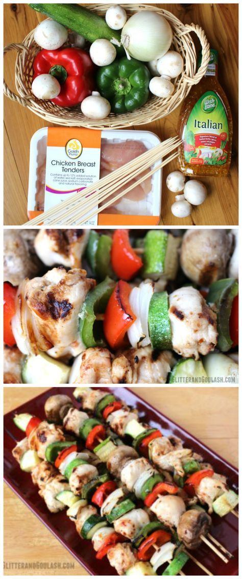 Grilled Chicken Kabobs using italian dressing...oh yum!! Great recipe for a…