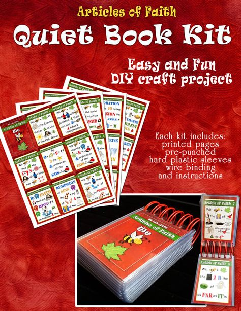 Quiet Book Kit - Articles of Faith - Sacrament Book - DIY Craft Kit - Flash Cards - Memorize -  FHE craft - Primary Gift - Christmas or Birthday Gifts. Easy and Fun to make. TempleSquares.etsy.com
