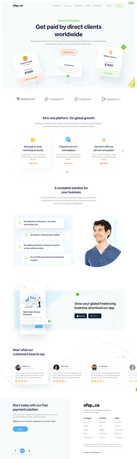 Fintech Home page I Ofspace