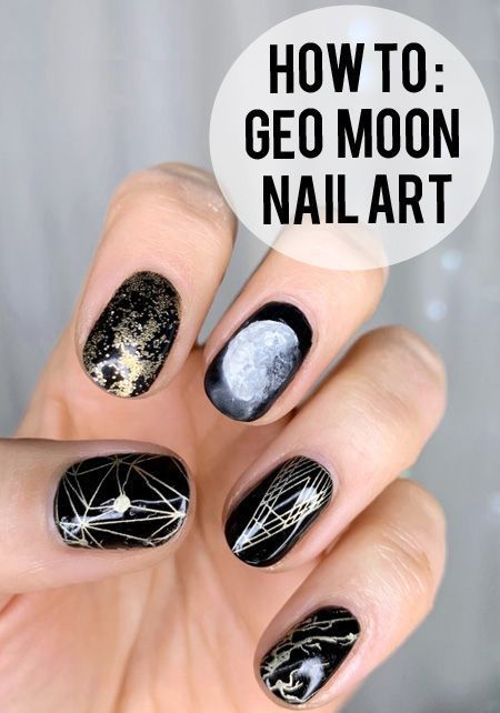 Simple Geometric Moon Nail Art Design Tutorial On Gel Nails Awesome And Easy Half Crescent Or Full Moon Nail Art With Stars Moon Nails Nail Art Designs Nails
