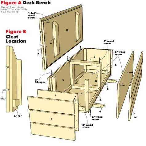 balkon bank How to Build an Outdoor Storage Bench Patio Storage Bench, Patio Bench, Diy Storage Bench Plans, Outside Storage Bench, Garden Bench With Storage, Outdoor Benches, Pallet Benches, Pallet Couch, Pallet Tables