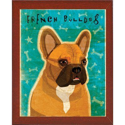 East Urban Home French Bulldog Fawn And White Graphic Art Print In Teal Format Affordable Red With Images French Bulldog Art French Bulldog Print Bulldog Art