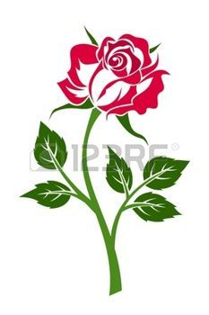 tatouage fleur: Rose rouge avec tige. Vector illustration.