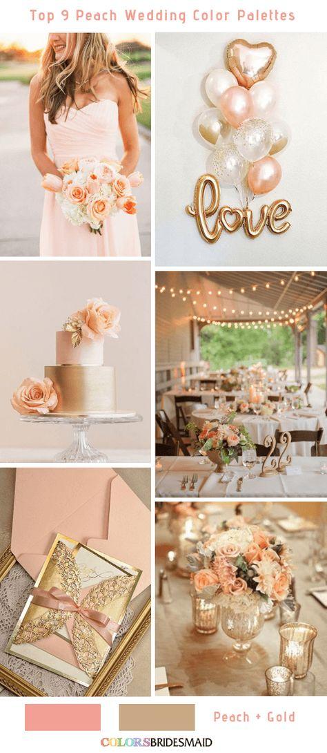 Top 9 Peach Wedding Color Palettes for 2019 -No.3 Peach and Gold  #colsbm #bridesmaids #weddings #weddingideas #summerwedding b550