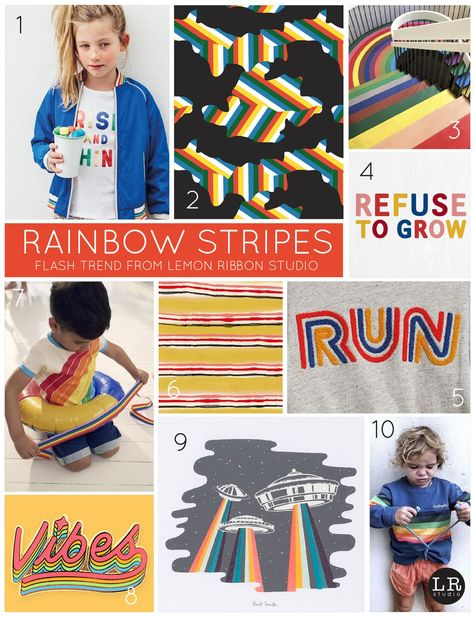 Flash Trend from Lemon Ribbon Studio: Rainbow Stripes. #trends #trends2018 #kidstrends #kids #design #stripes  canvastrends.net