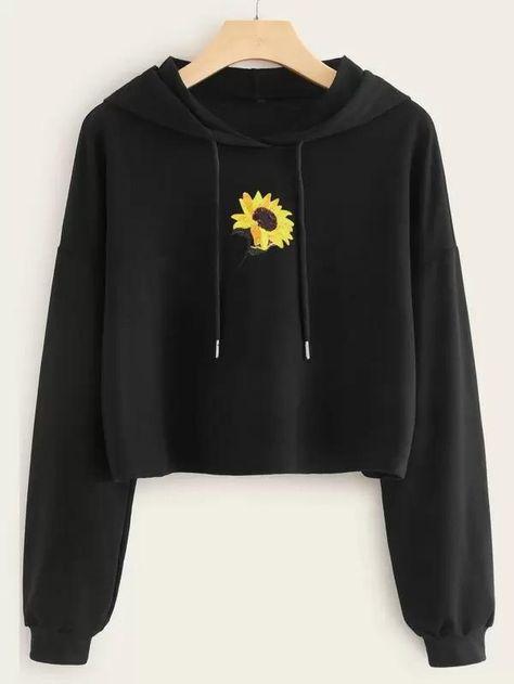 Sunflower Embroidery Drawstring Crop Hoodie