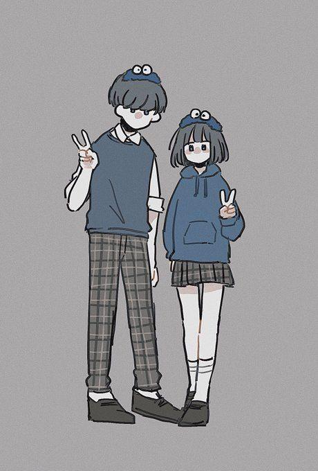 Cute Couple Drawings, Cute Cartoon Drawings, Drawing Cartoon Characters, Cute Couple Art, Cartoon Art Styles, Kawaii Drawings, Cute Characters, Cartoon Cartoon, Character Art