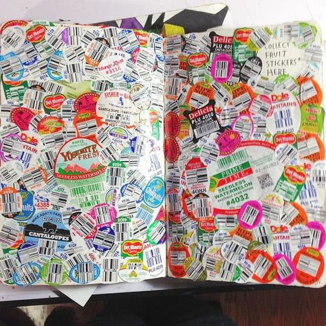 """""""Collect fruit stickers here"""" This is was one of my favorite pages to do."""