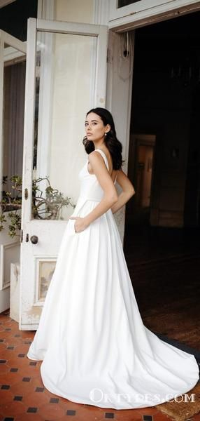 Elegant V Neck Simple Long A Line V Back Cheap Wedding Dresses Typ1982 Wedding Dresses Nz Modest Wedding Dresses Minimalist Wedding Dresses