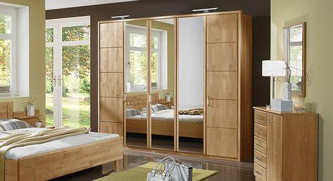 Moderner Drehtüren-Kleiderschrank mit praktischen Spiegeltüren - schlafzimmerschrank erle massiv