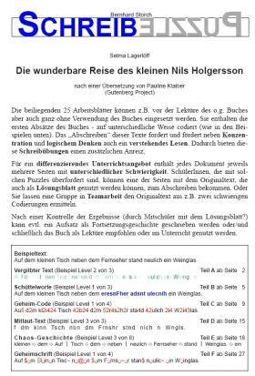 Die Wunderbare Reise Des Kleinen Nils Holgersson Schreibpuzzle Schreibubungen Teamarbeit Geheimschrift