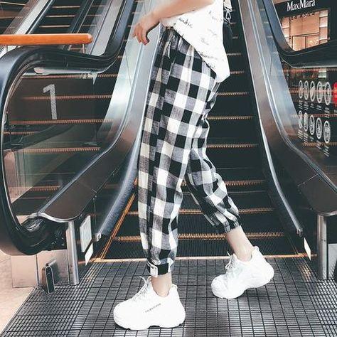 7424806abd1 New Fashion Women Plaid Cargo Pants Drawstring Girls Plus Size Mid Waist  Bodycon Trousers Loose Ankle-Length Pants Pantalon