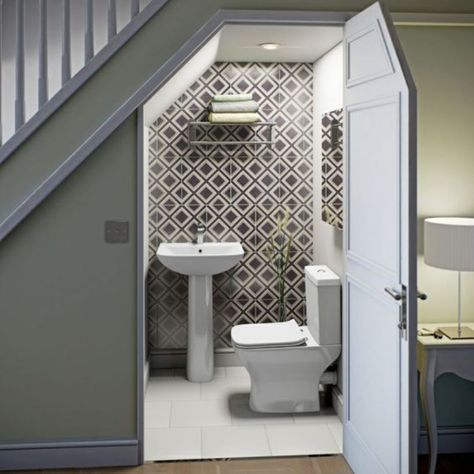 downstairs toilet utility room under stairs Bathroom Under Stairs, Downstairs Bathroom, Toilet Under Stairs, Small Basement Bathroom, Small Wc Ideas Downstairs Loo, Space Under Stairs, Small Toilet Room, Down Stairs Toilet Ideas, Cupboard Under The Stairs