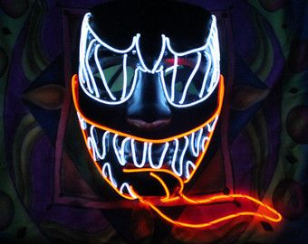 Venom Style Light Up Mask W 3d Tongue 15 Ft El Wire Exclusive Cosplay Spiderman Festival Rave Halloween Scary Party Halloween Wallpaper Scary Faces Spiderman