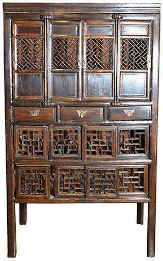 One Kings Lane Vintage Antique Chinese Fretwork Kitchen Cabinet Fea Home Staining Cabinets Wooden Cabinets Cabinet