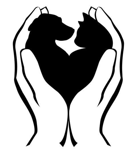 cat and dog digital clip art set pet animal clipart heart rh pinterest com Cartoon Animal Shelter Building Animal Shelter Clip Art