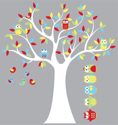wandtattooeulenbaumbaum vinyl von wallinspired auf etsy