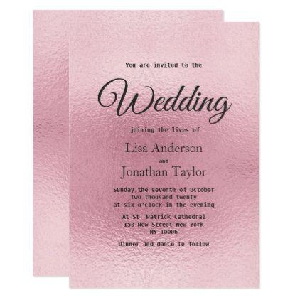 Modern faux rose gold foil elegant Wedding Card - wedding ...