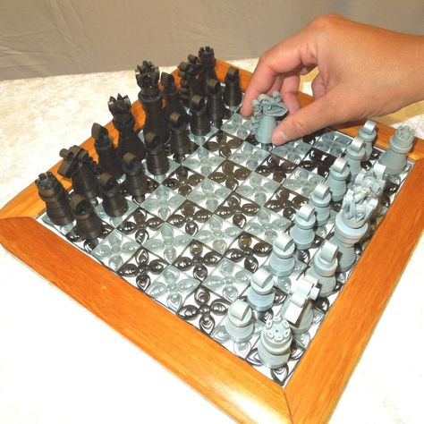 Quilled paper chess set with board - silver and dark bronze handmade. $100.00, via Etsy.