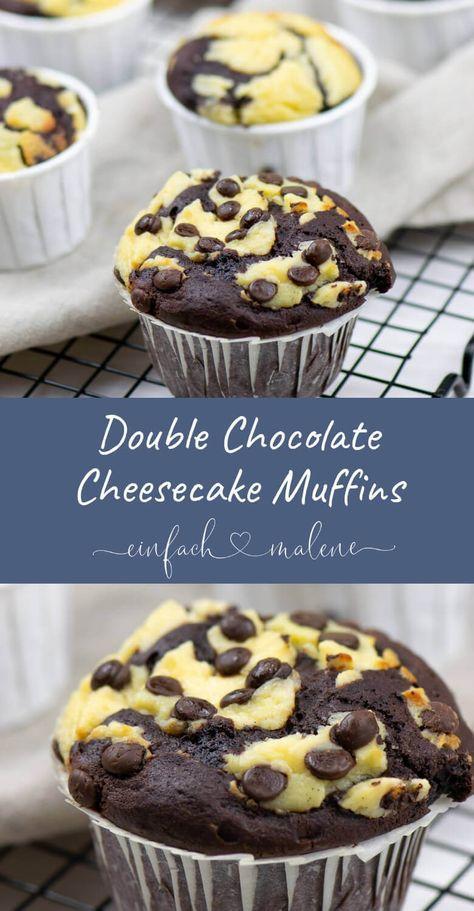 Das Rezept für die Schoko Muffins mit Käsekuchen Füllung ist der Knaller - Mit nur wenigen Zutaten & kurzer Backzeit werden sie mega saftig & schokoladig.