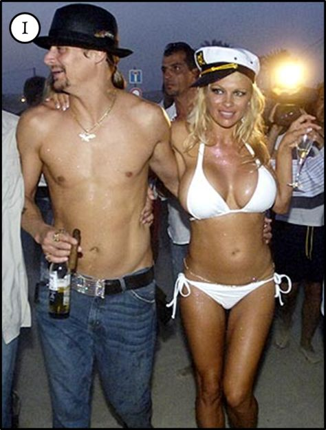 Where some brides make the mistake of making everything too big, Pam Anderson makes the mistake of wearing something too small. Pam wore a white Melissa Odabash Bikini for her wedding to Kid Rock.