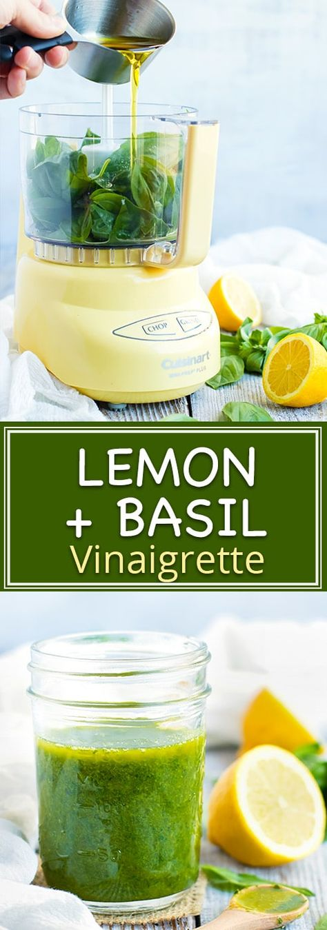 Healthy Homemade Lemon Basil Salad Dressing is a simple and easy vinaigrette recipe that is quick and easy to make!  Pour this gluten-free, dairy-free, vegan and healthy homemade dressing recipe over your favorite salad, quinoa veggie bowl, or on a sandwich. #healthy #homemade #dressing #salad #basil #lemon