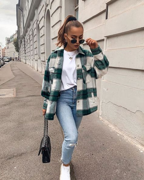 Classic Thick Colorblock Checked Button Down Shirt Jacket