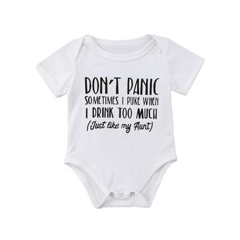 Don T Panic Basic Cotton Romper Auntie Baby Clothes Girls Rompers Baby Shirts