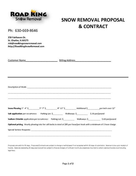 Snow Plow Contract Snow Removal Contract Contract Template