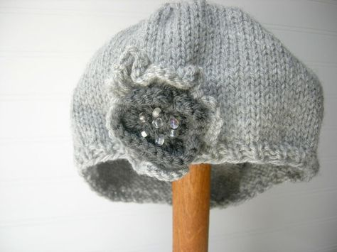 Classic Beret in Soft Grey/ Removable Beaded by WindyCityKnits, $28.00
