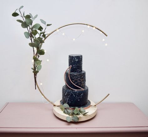 Excited to share this item from my shop: Crescebt moon Cake Hoop Stand, Hoop and base sold separately - made with reclaimed recycled rustic timber. Ideal for Weddings and Celebratio