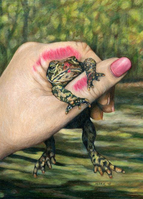 The Wrong One - Princess kissing Frog at http://www.etsy.com/listing/91892583/the-wrong-one-princess-kissing-frog-art