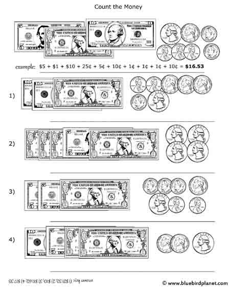 Free printable black & white worksheets for preschool, Kindergarten, 1st, 2nd, 3rd, 4th, 5th grades. Counting Money and Bills. Adding Coins and Bills.