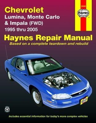 Chevrolet Lumina Monte Carlo And Impala Haynes Repair Manual 1995 2005 Complete Coverage For Your Carparts Autoparts Chevrolet Lumina Repair Manuals Repair