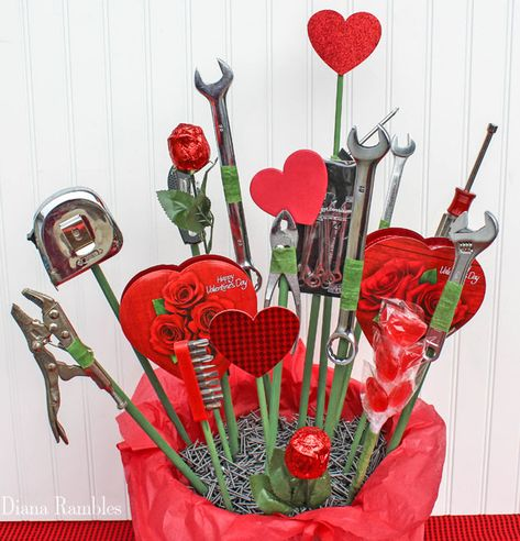 Want to make your own bouquet for your man for Valentine's Day? Make this candy and tool bouquet. He'll love this tool and candy basket.