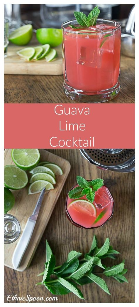 Tangy, tart and sweet guava lime cocktail refreshes on a hot day! Squeeze some limes, add tequila and guava juice and a sprig of mint! Simple and delicious. It's kind of like a margarita except it's stirred and has no salt. Enjoy! | http://ethnicspoon.com
