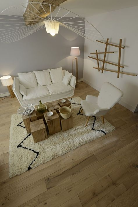Solid Oak Parquet Combination Of Raw And White Wood Like
