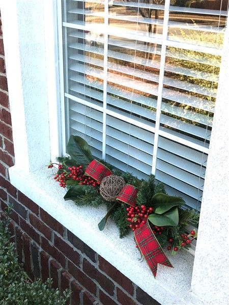 How To Make A Christmas Window Sill Swag For Your Outside Windows Christmas Window Decorations Outside Christmas Decorations Christmas Wreaths For Windows