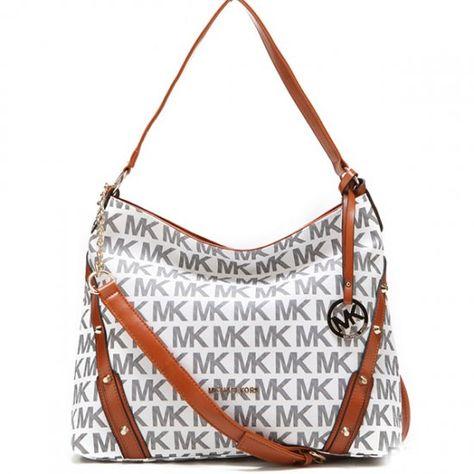 b3437bc7b8c2 Michael Kors Leigh Stud Logo Signature Large Vanilla Shoulder Bag   bags