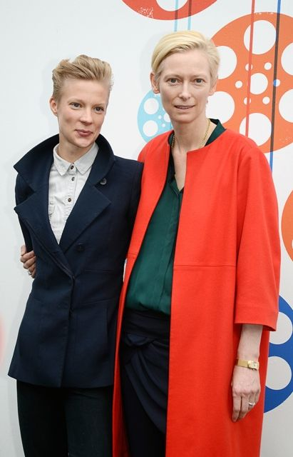 Tilda Swinton and Maja Borg at a photocall during the Edinburgh International Film Festival