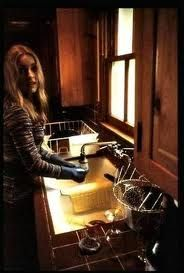 Sharon Tate in the kitchen at Cielo Drive