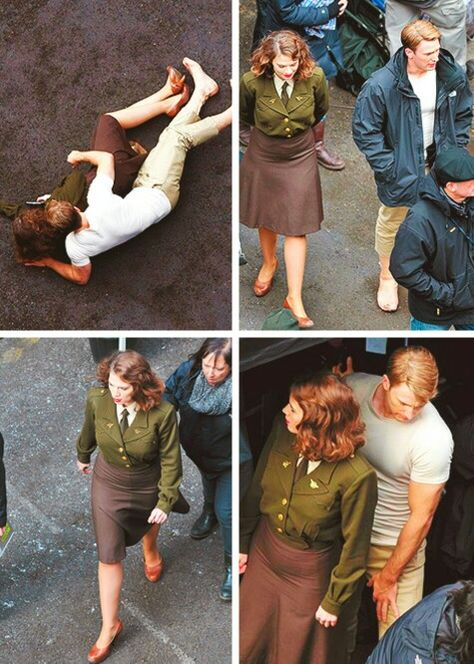 Chris Evans and Hayley Atwell on the set of Captain America: The First Avenger